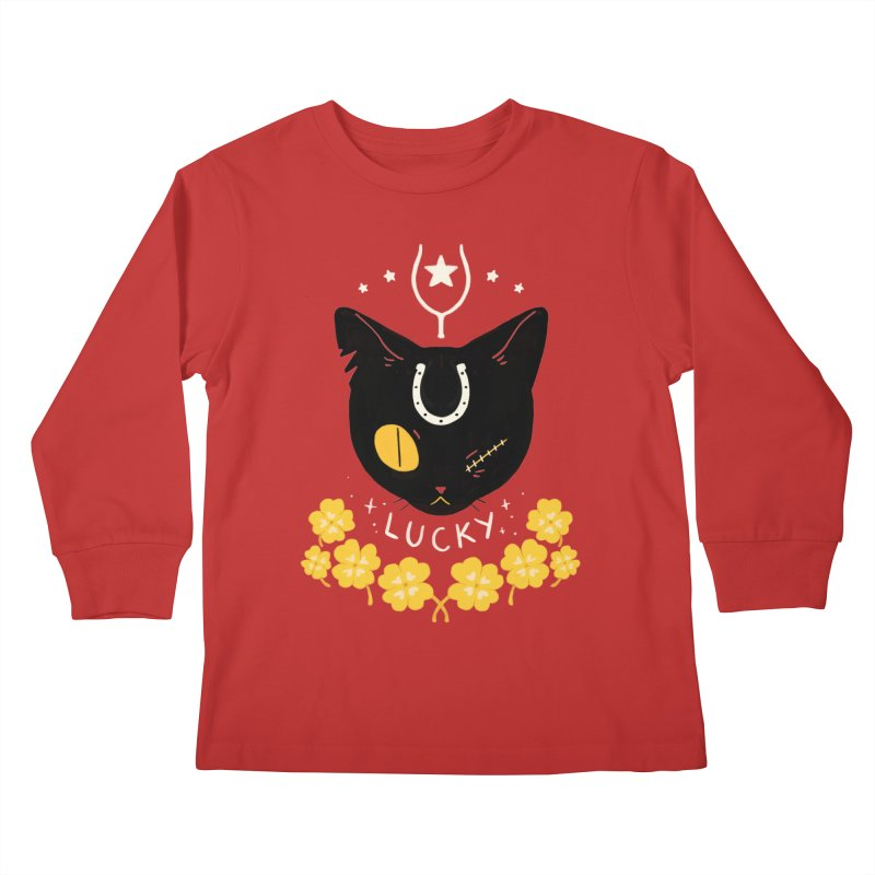 Lucky Cat Kids Longsleeve T-Shirt by StrangelyKatie's Store