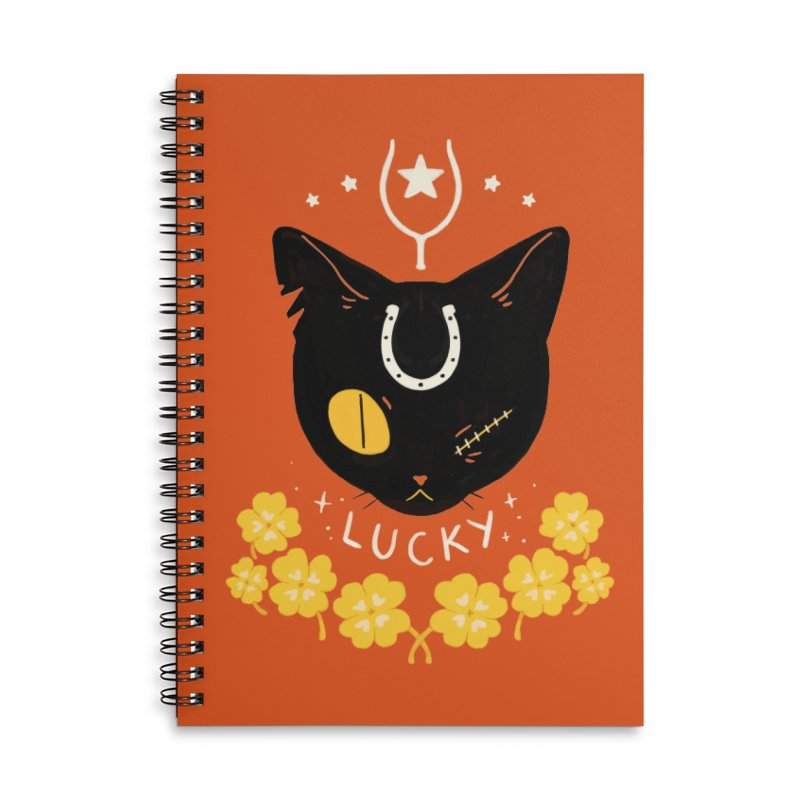 Lucky Cat Accessories Lined Spiral Notebook by StrangelyKatie's Store
