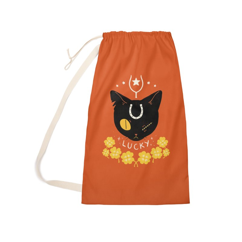 Lucky Cat Accessories Laundry Bag Bag by StrangelyKatie's Store