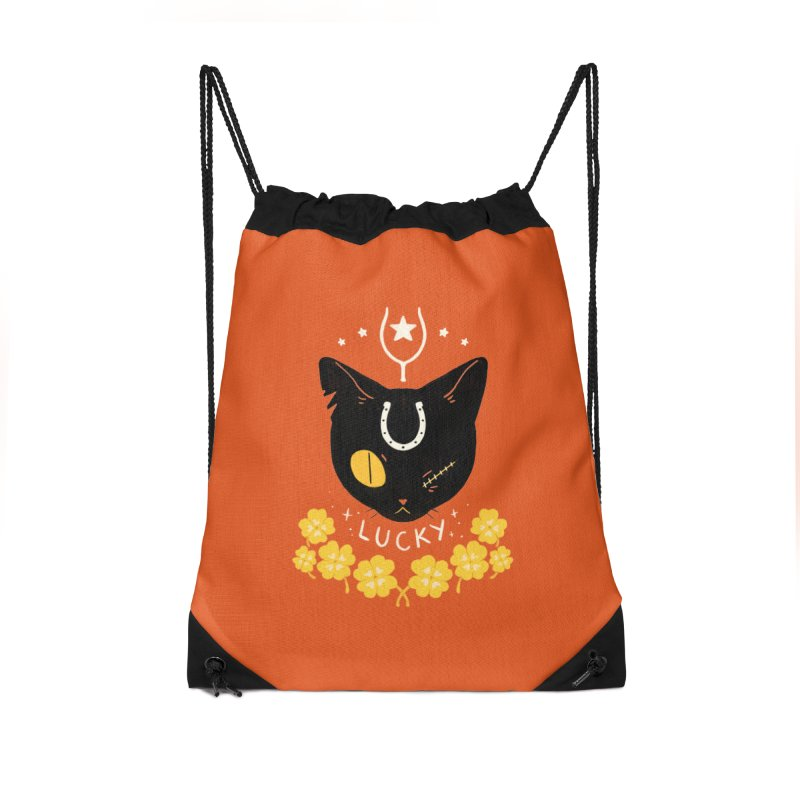 Lucky Cat Accessories Drawstring Bag Bag by StrangelyKatie's Store