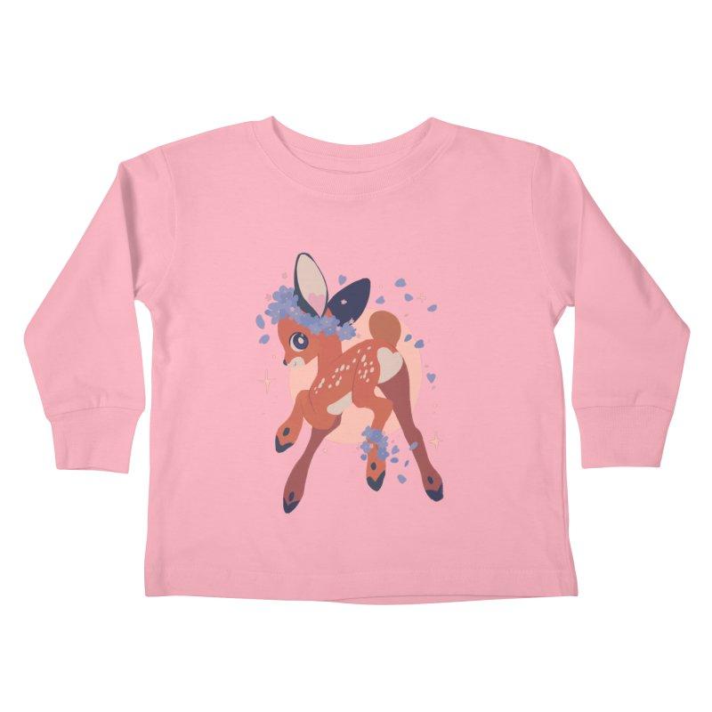 Heartbutt Deer Kids Toddler Longsleeve T-Shirt by StrangelyKatie's Store
