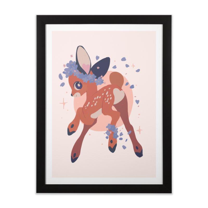 Heartbutt Deer Home Framed Fine Art Print by StrangelyKatie's Store