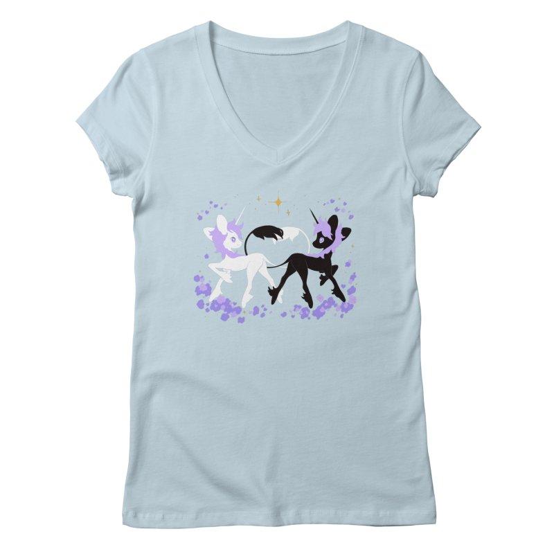 Unicorn Pair Women's V-Neck by StrangelyKatie's Store