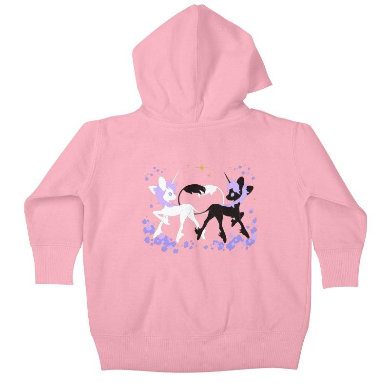 Unicorn Pair Kids Baby Zip-Up Hoody by StrangelyKatie's Store
