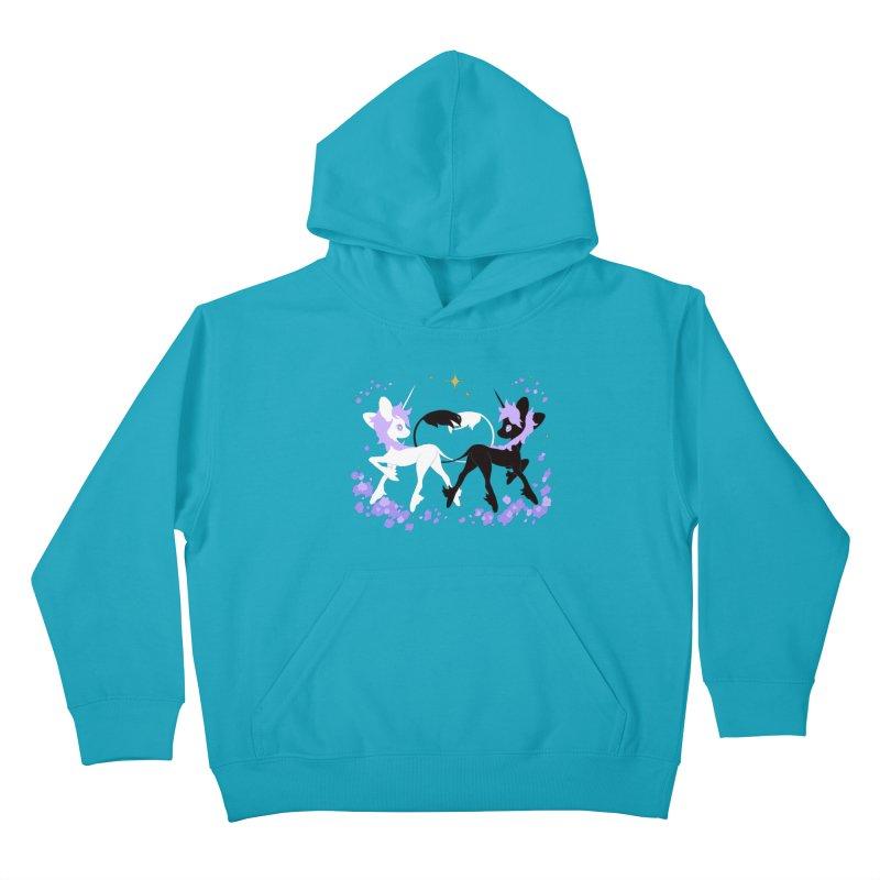 Unicorn Pair Kids Pullover Hoody by StrangelyKatie's Store