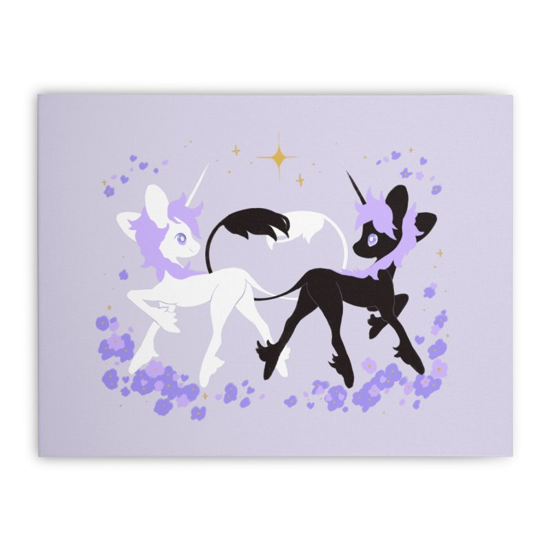 Unicorn Pair Home Stretched Canvas by StrangelyKatie's Store