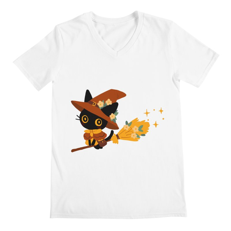 Cat Witch Men's V-Neck by StrangelyKatie's Store