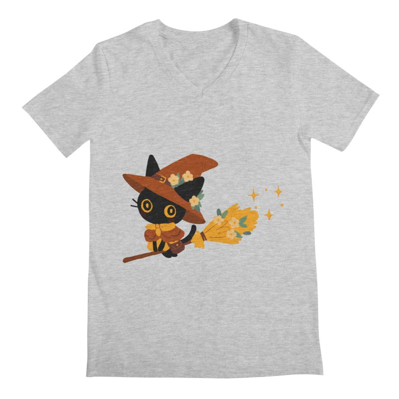Cat Witch Men's Regular V-Neck by StrangelyKatie's Store