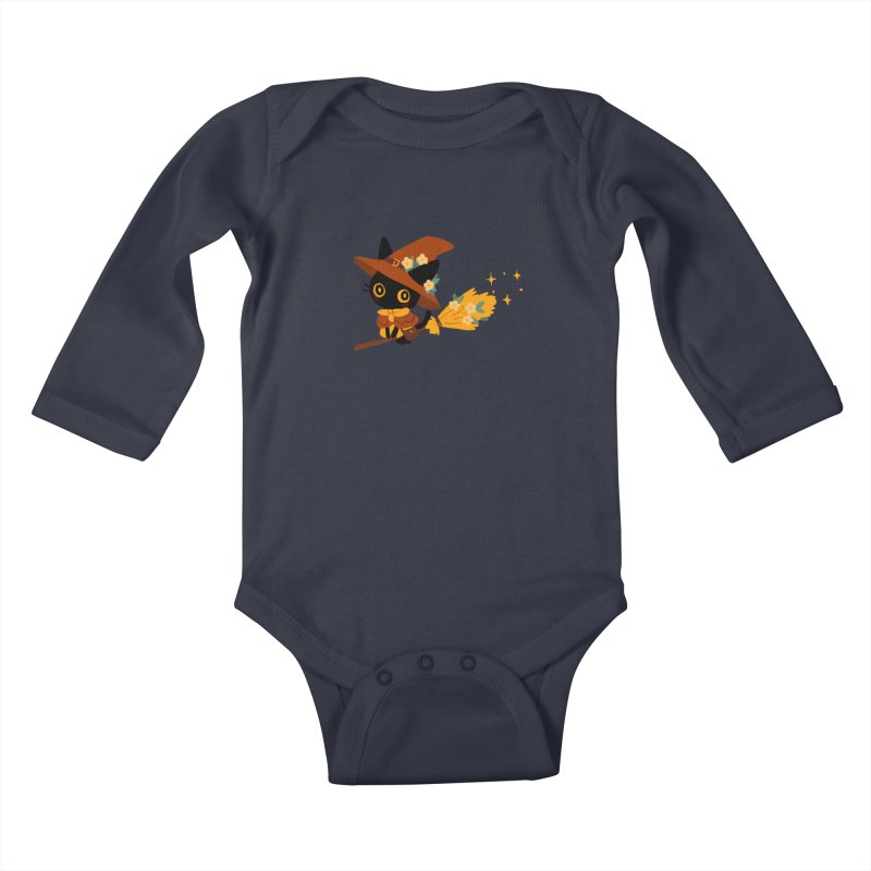 Cat Witch Kids Baby Longsleeve Bodysuit by StrangelyKatie's Store