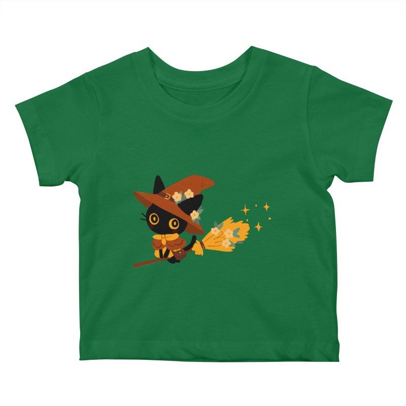 Cat Witch Kids Baby T-Shirt by StrangelyKatie's Store