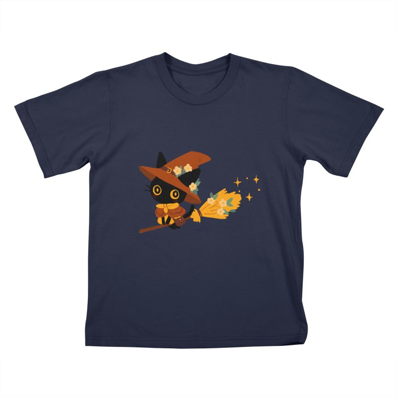 Cat Witch Kids T-Shirt by StrangelyKatie's Store