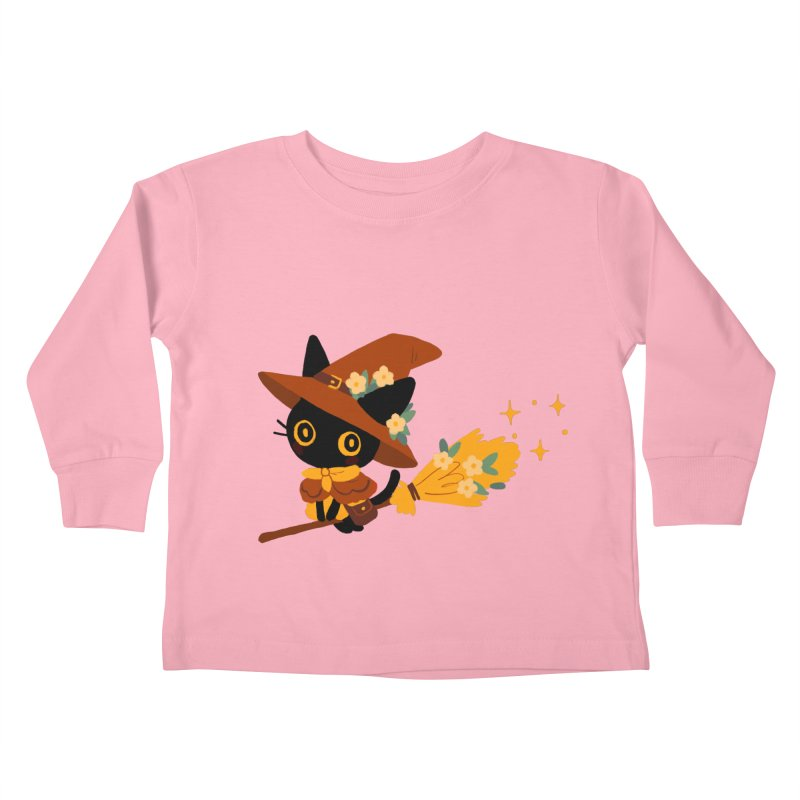 Cat Witch Kids Toddler Longsleeve T-Shirt by StrangelyKatie's Store