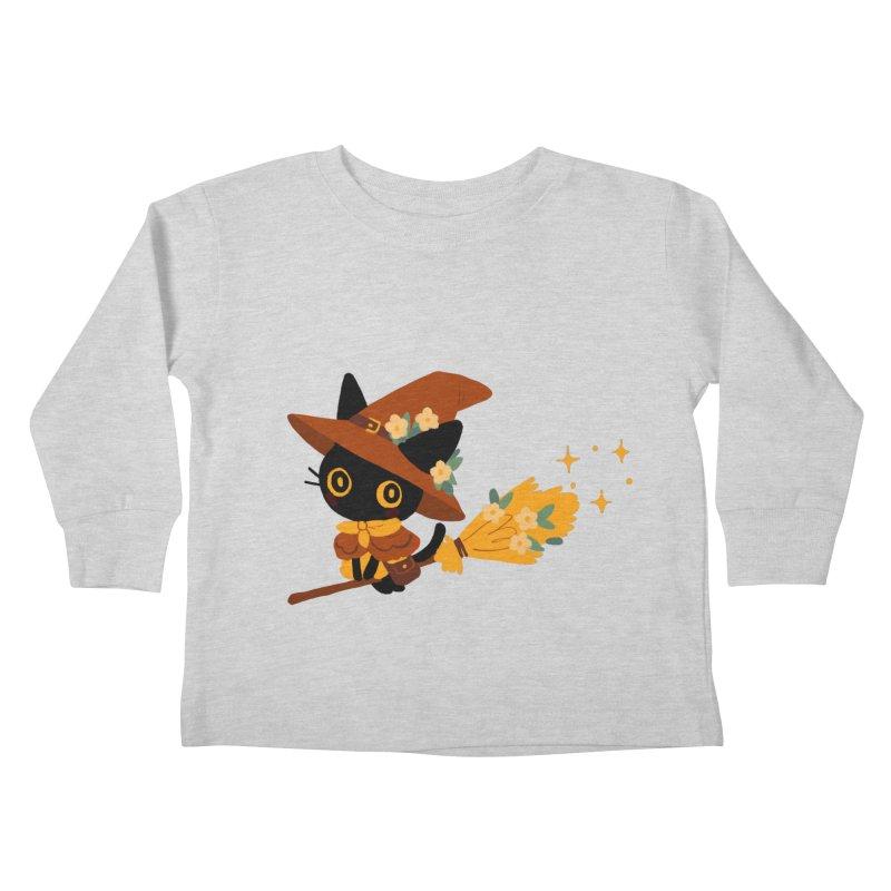 Cat Witch Kids Toddler Longsleeve T-Shirt by StrangelyKatie's Store