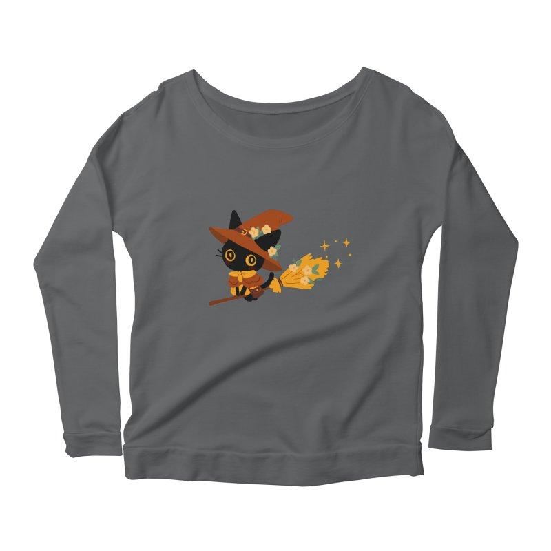 Cat Witch Women's Scoop Neck Longsleeve T-Shirt by StrangelyKatie's Store
