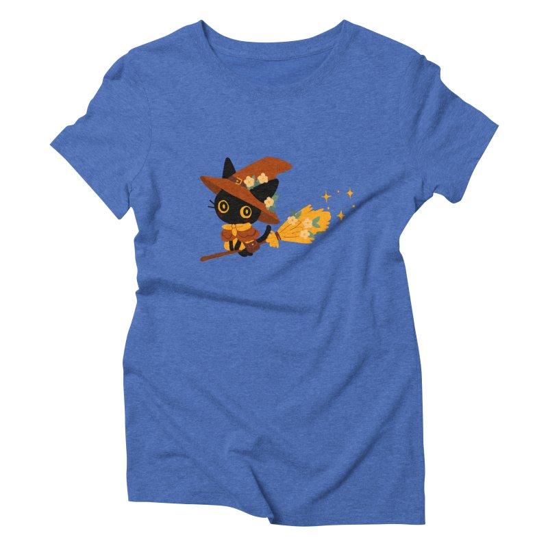 Cat Witch Women's Triblend T-Shirt by StrangelyKatie's Store