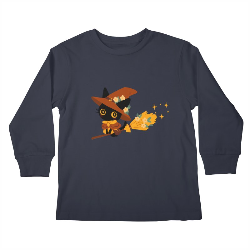 Cat Witch Kids Longsleeve T-Shirt by StrangelyKatie's Store