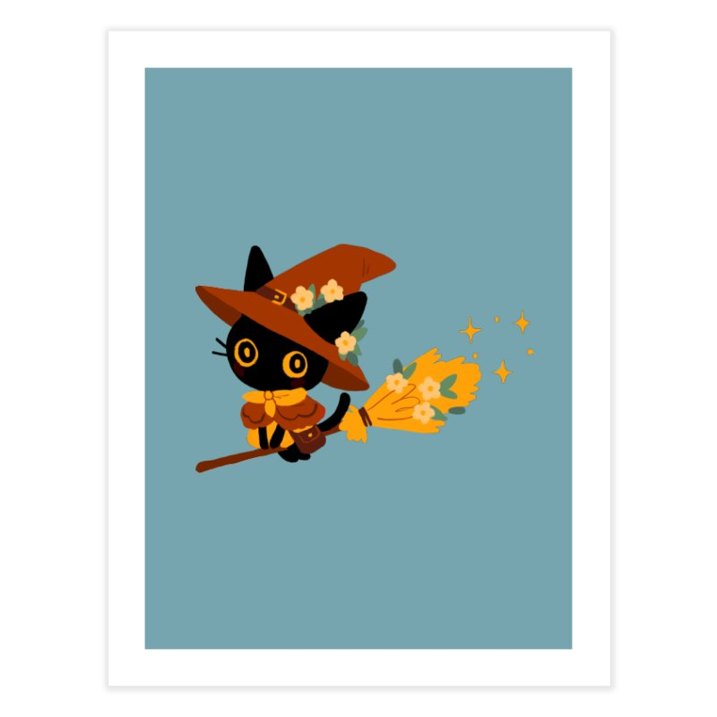 Cat Witch Home Fine Art Print by StrangelyKatie's Store