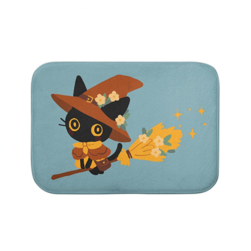 Cat Witch Home Bath Mat by StrangelyKatie's Store