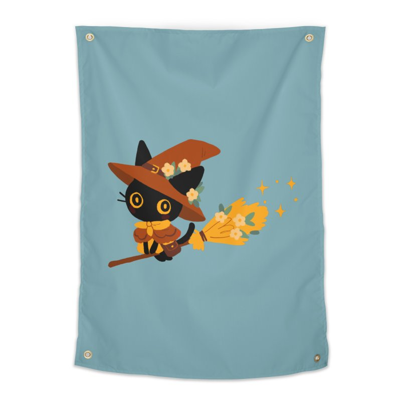 Cat Witch Home Tapestry by StrangelyKatie's Store