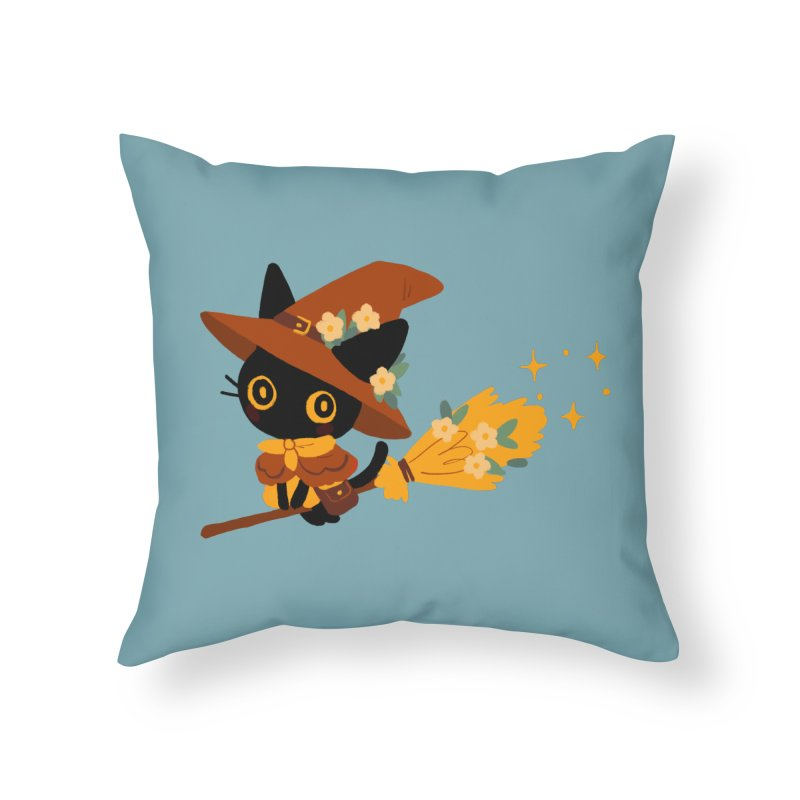 Cat Witch Home Throw Pillow by StrangelyKatie's Store