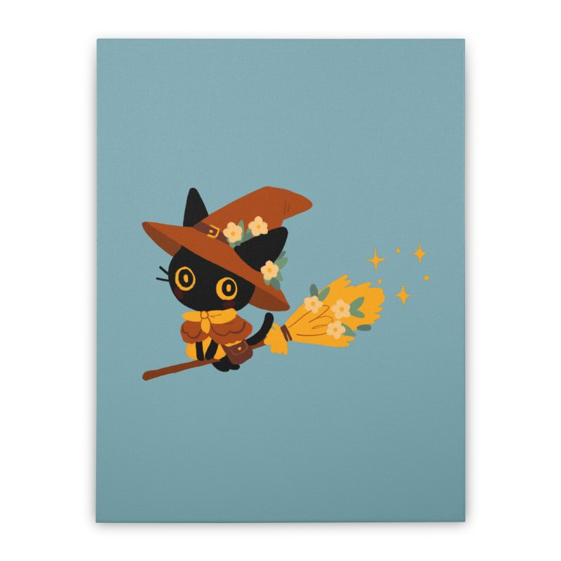 Cat Witch Home Stretched Canvas by StrangelyKatie's Store