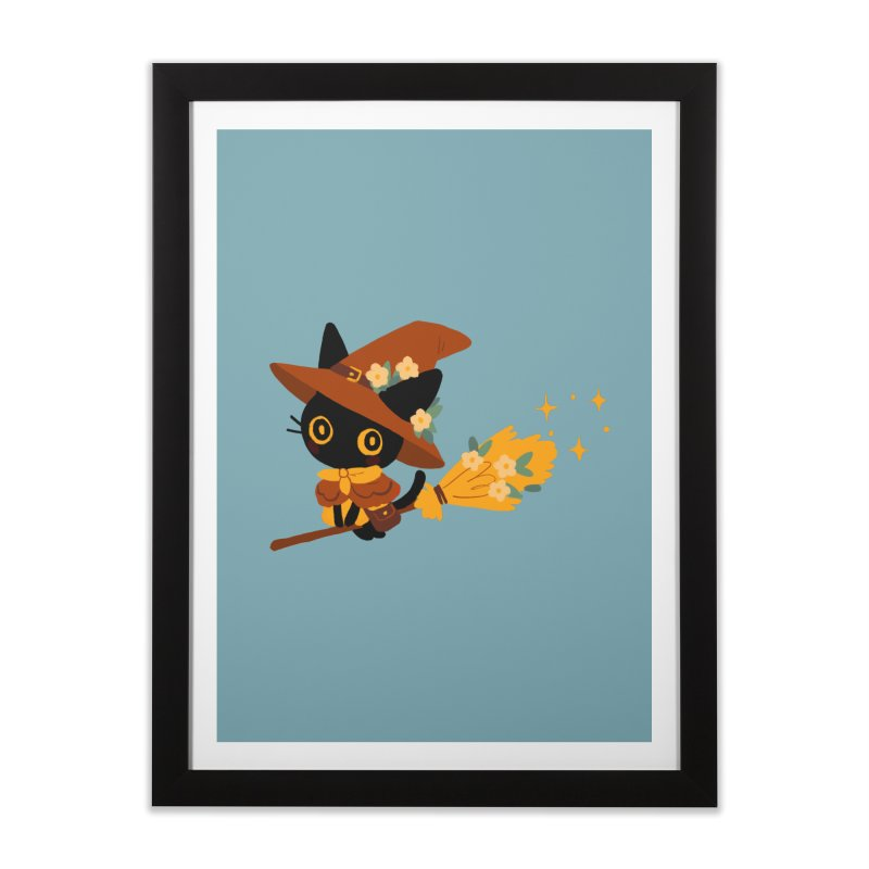 Cat Witch Home Framed Fine Art Print by StrangelyKatie's Store