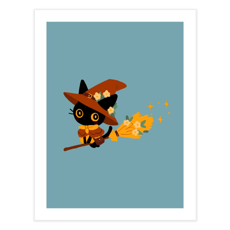 Cat Witch Home Fine Art Print by StrangelyKatie's Store