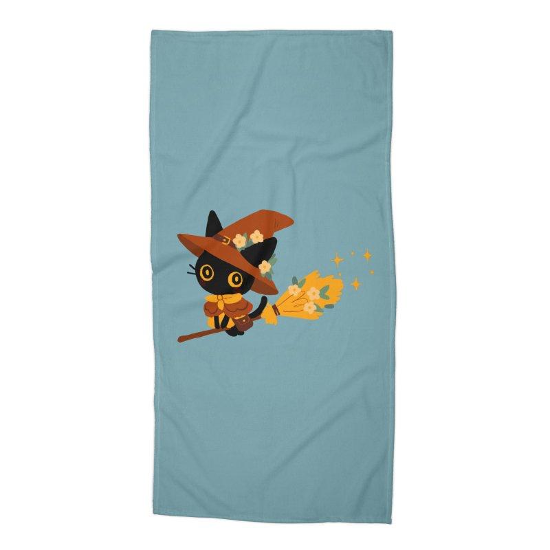 Cat Witch Accessories Beach Towel by StrangelyKatie's Store