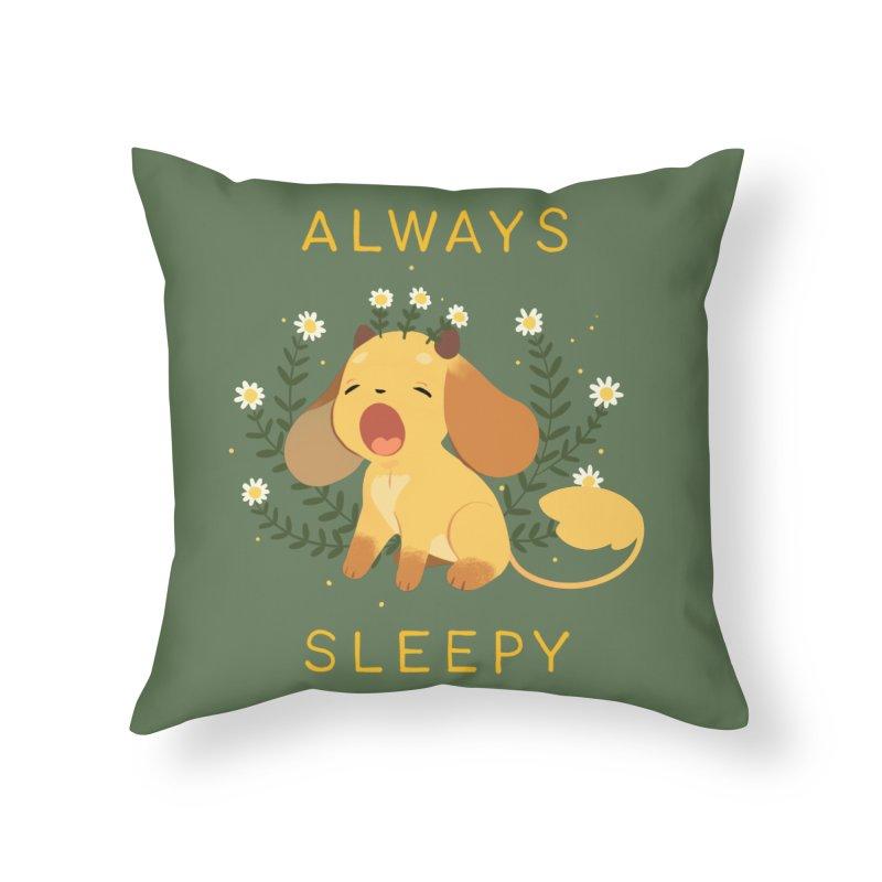 Always Sleepy Home Throw Pillow by StrangelyKatie's Store