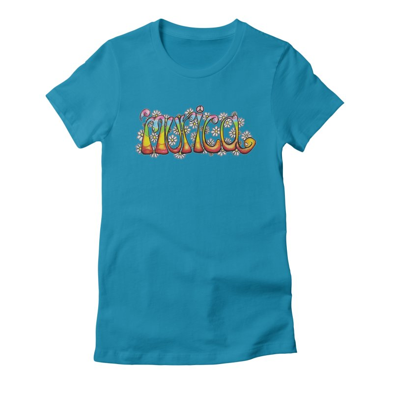 Murica! Women's Fitted T-Shirt by Strange Menagerie