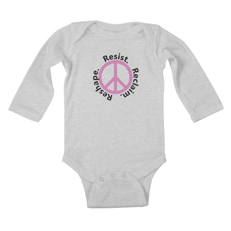 Resist. Reclaim. Reshape Kids Baby Longsleeve Bodysuit by Strange Menagerie