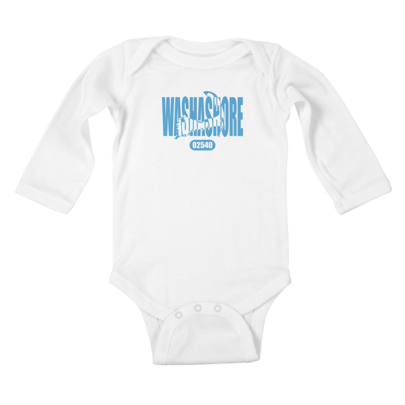 Cape Cod Washashore - 02540 [Falmouth] Kids Baby Longsleeve Bodysuit by Strange Menagerie