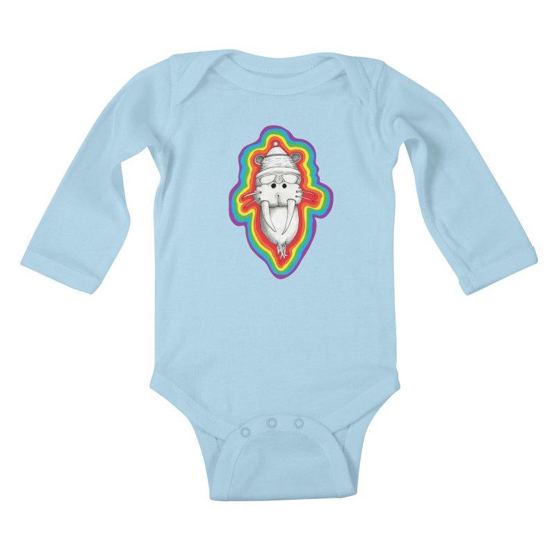 Walrus Monkey God Kids Baby Longsleeve Bodysuit by Strange Menagerie