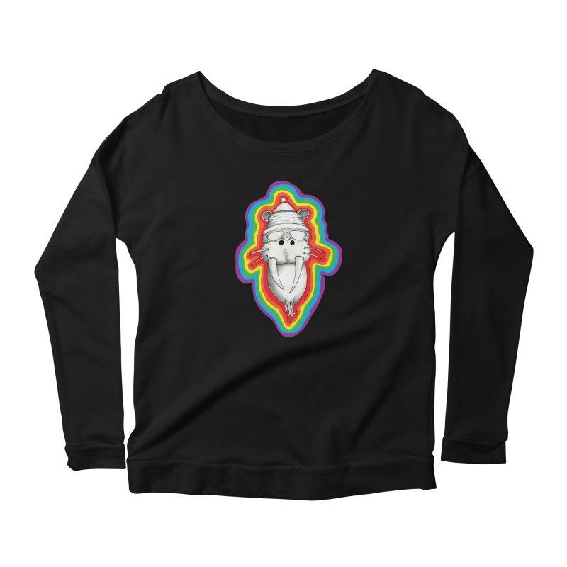 Walrus Monkey God Women's Longsleeve Scoopneck  by Strange Menagerie