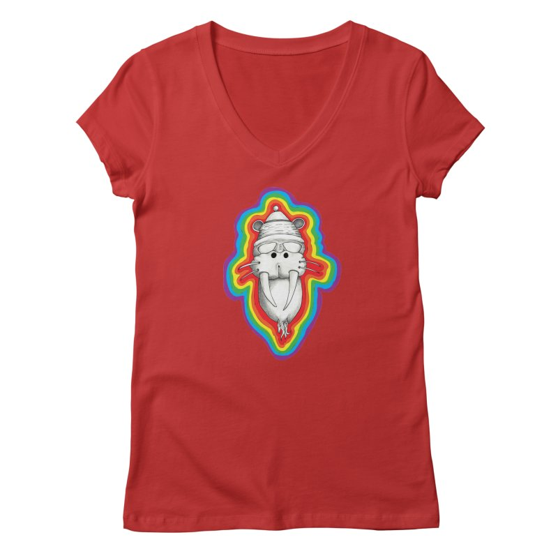 Walrus Monkey God Women's Regular V-Neck by Strange Menagerie