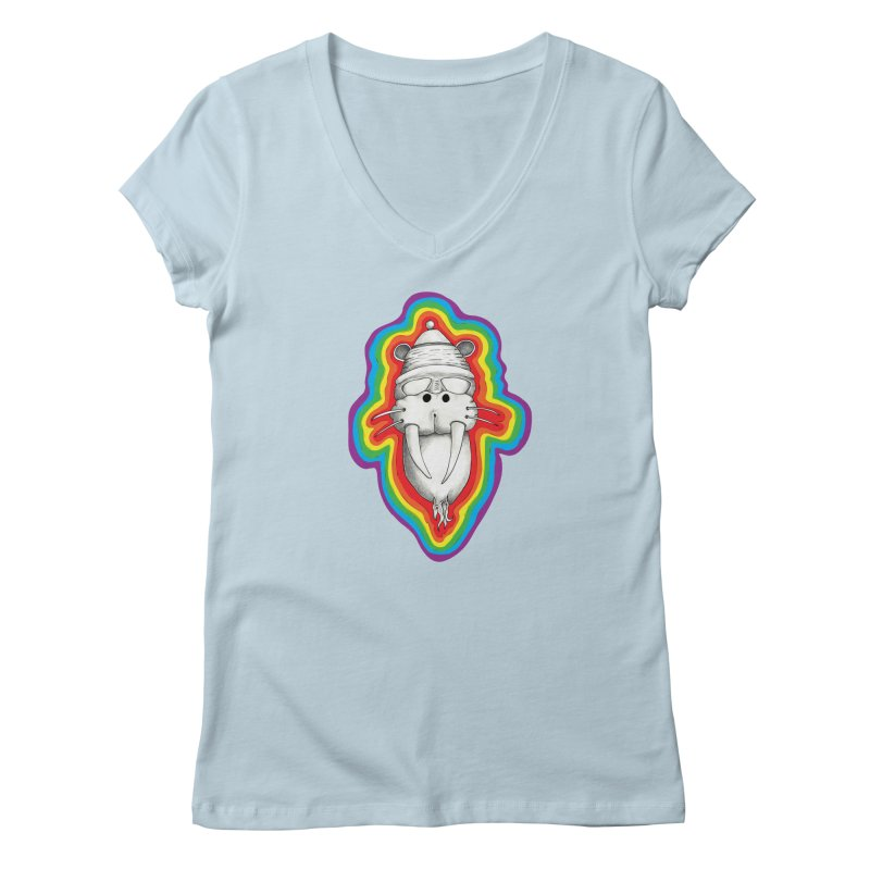 Walrus Monkey God Women's V-Neck by Strange Menagerie