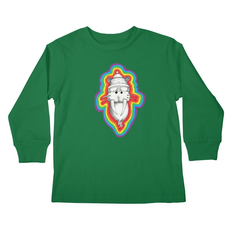 Walrus Monkey God Kids Longsleeve T-Shirt by Strange Menagerie