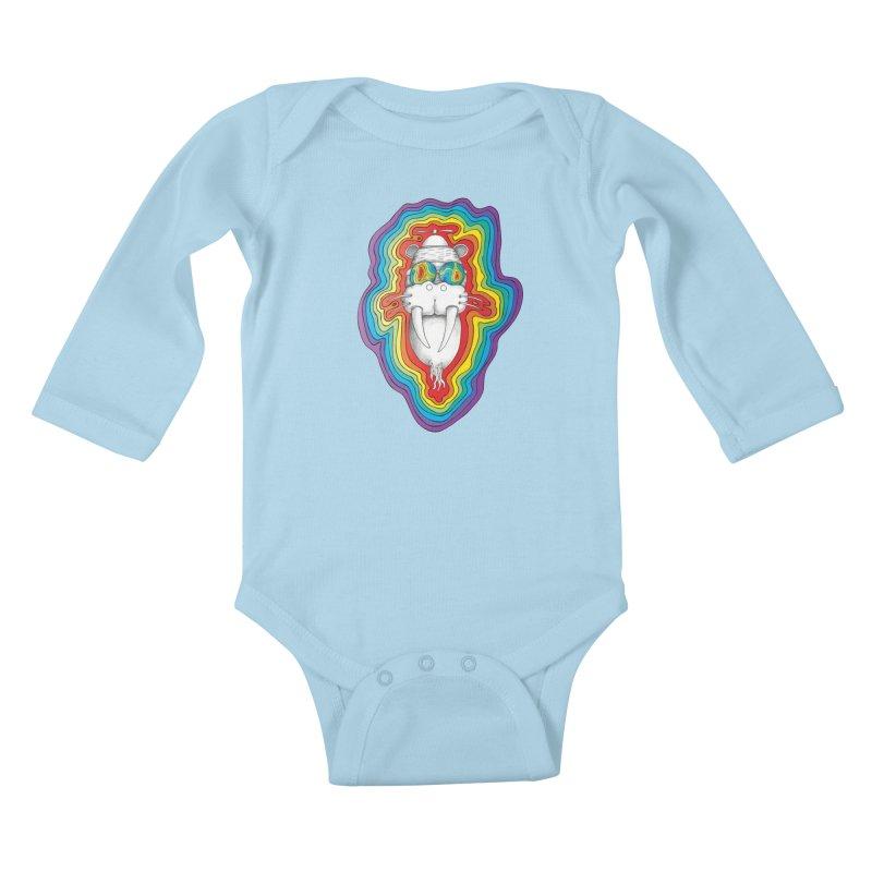 Walrus Monkey God [Hippie Daze] Kids Baby Longsleeve Bodysuit by Strange Menagerie