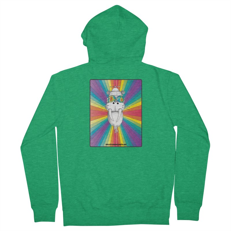 Psychedelic Walrus Monkey God Variation 2 Men's French Terry Zip-Up Hoody by Strange Menagerie