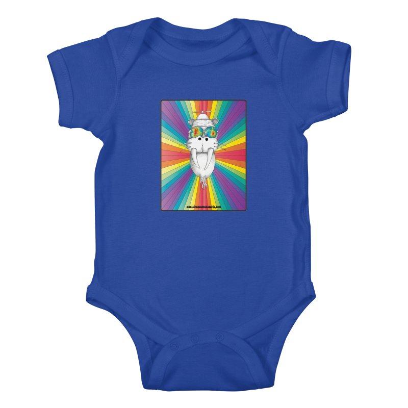 Psychedelic Walrus Monkey God Variation 2 Kids Baby Bodysuit by Strange Menagerie