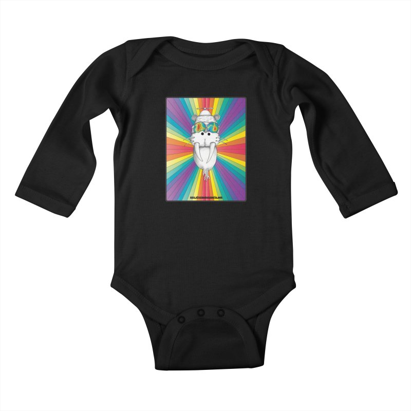 Psychedelic Walrus Monkey God Variation 2 Kids Baby Longsleeve Bodysuit by Strange Menagerie