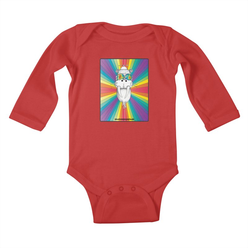Psychedelic Walrus Monkey God Variation 2 Kids Baby Longsleeve Bodysuit by Strange Menagerie