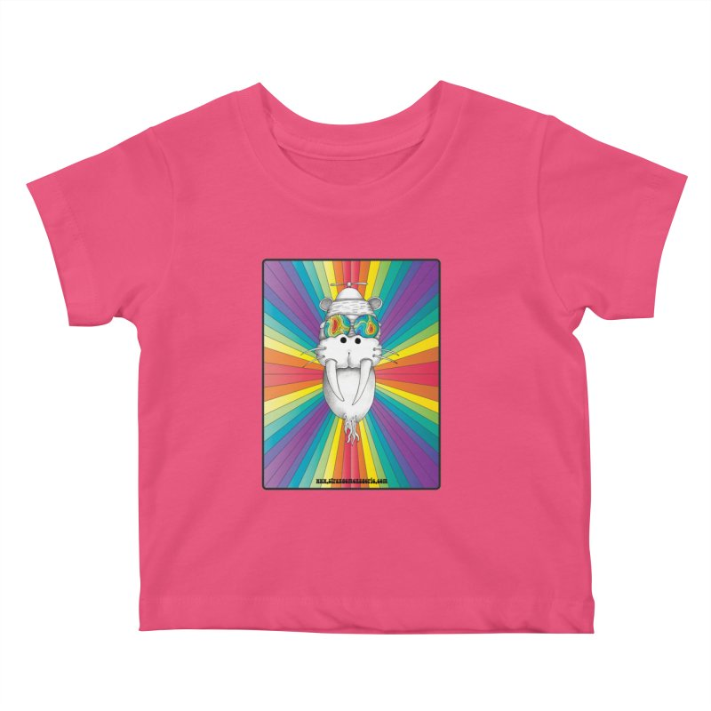 Psychedelic Walrus Monkey God Variation 2 Kids Baby T-Shirt by Strange Menagerie