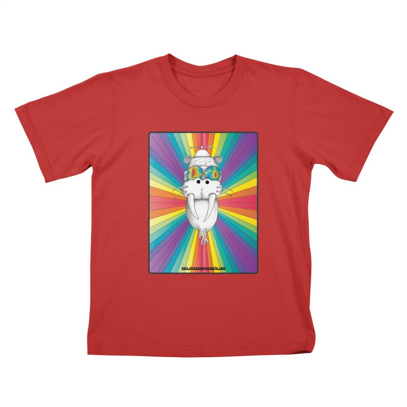 Psychedelic Walrus Monkey God Variation 2 Kids T-Shirt by Strange Menagerie