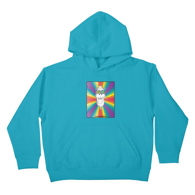 Psychedelic Walrus Monkey God Variation 2 Kids Pullover Hoody by Strange Menagerie