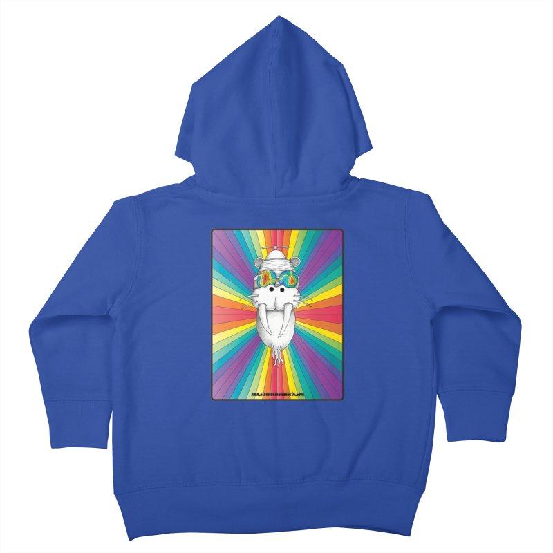 Psychedelic Walrus Monkey God Variation 2 Kids Toddler Zip-Up Hoody by Strange Menagerie