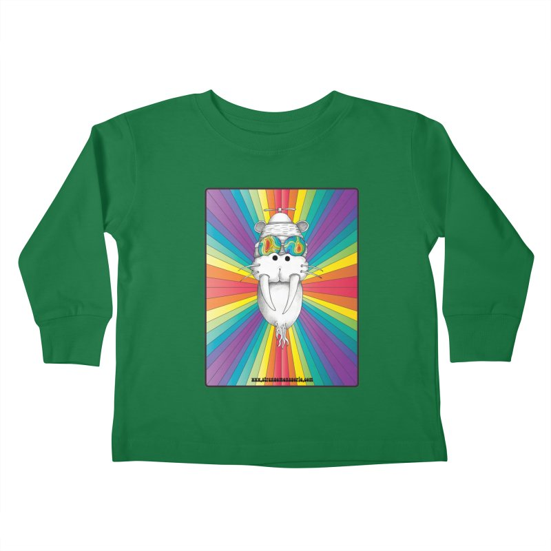 Psychedelic Walrus Monkey God Variation 2 Kids Toddler Longsleeve T-Shirt by Strange Menagerie