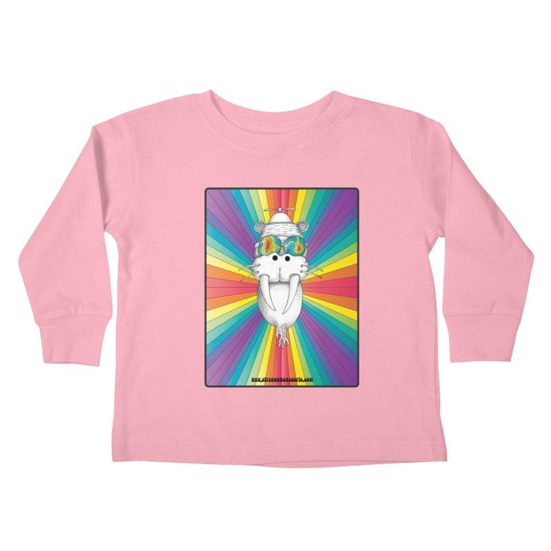 Psychedelic Walrus Monkey God Variation 2 Kids Toddler Longsleeve T-Shirt by Strange Menagerie