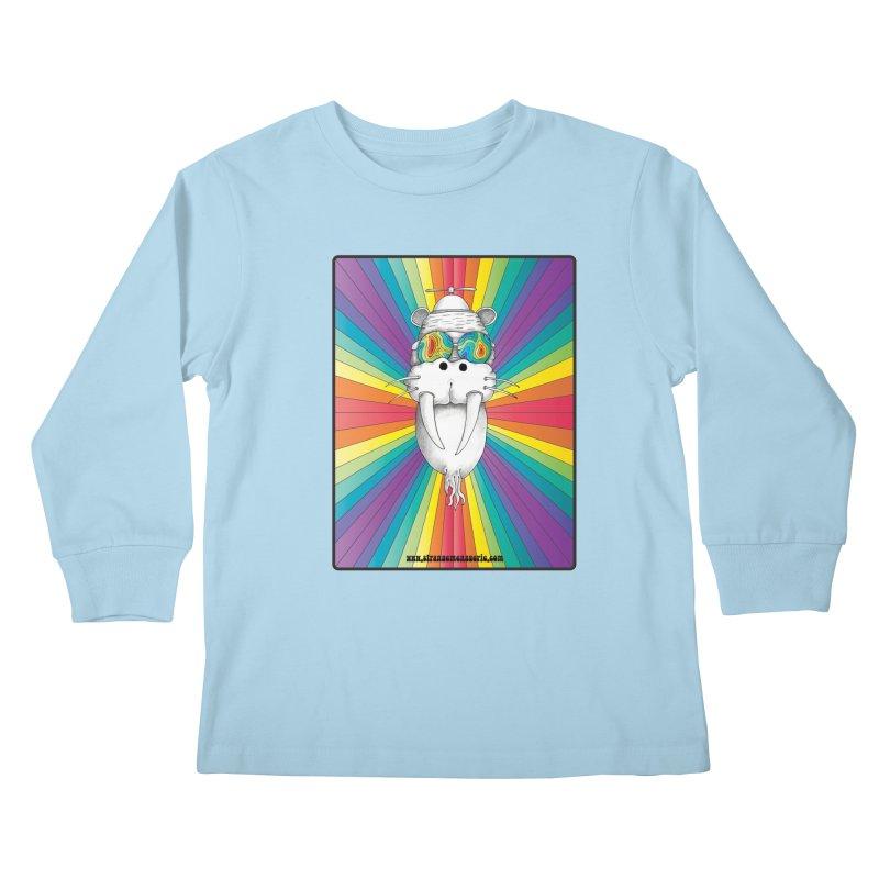Psychedelic Walrus Monkey God Variation 2 Kids Longsleeve T-Shirt by Strange Menagerie