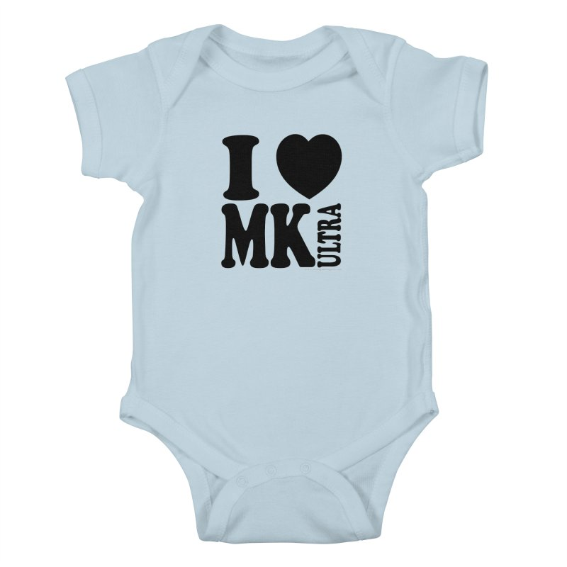 I Heart MK Ultra Kids Baby Bodysuit by Strange Menagerie